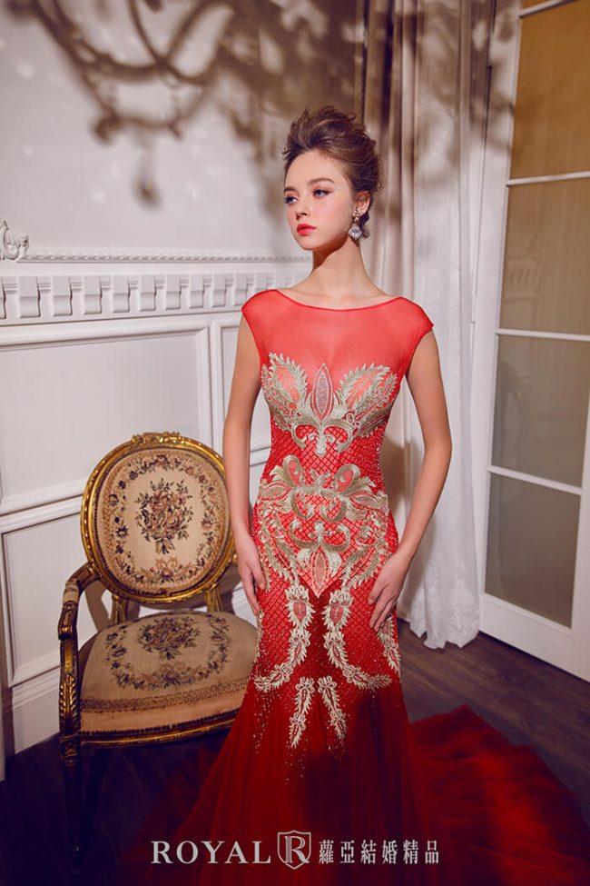 婚紗禮服款式-裸紗婚紗-紅色禮服-婚紗款式2020-魚尾婚紗-手工禮服