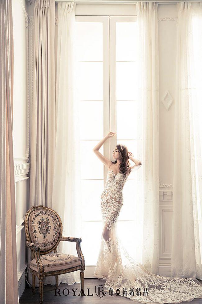 婚紗禮服款式-裸紗婚紗-美背婚紗-魚尾白紗-魚尾婚紗