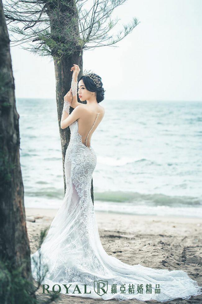 婚紗禮服款式-裸紗婚紗-魚尾婚紗-魚尾白紗-美背裸紗