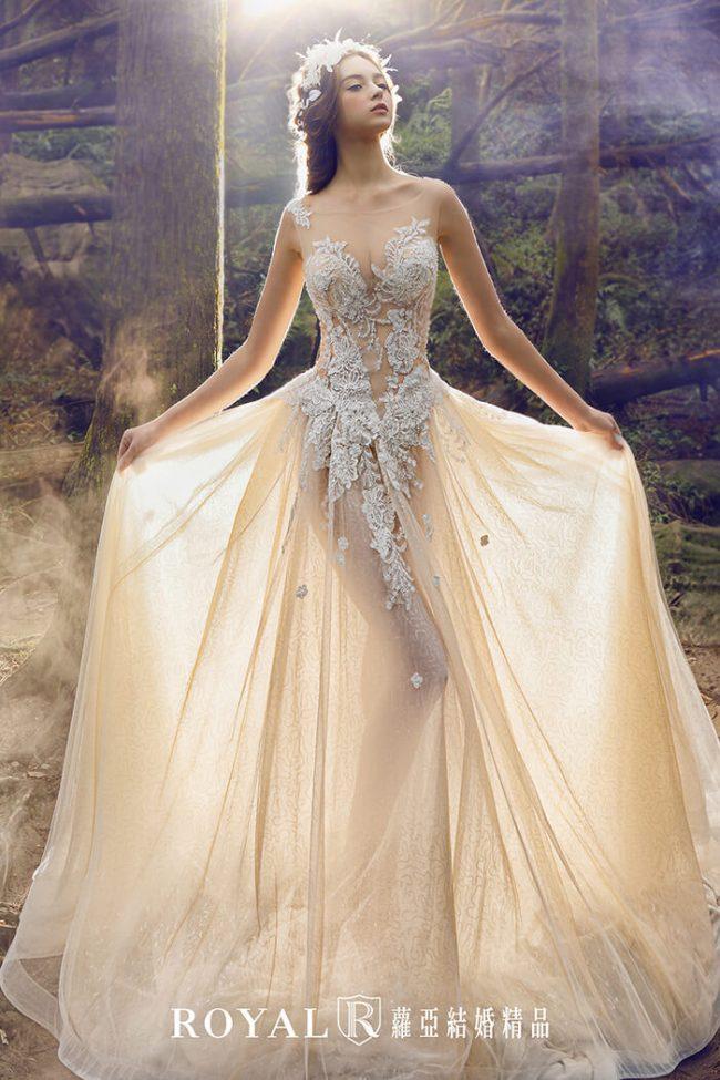 婚紗禮服款式-裸紗婚紗-a line婚紗-手工婚紗