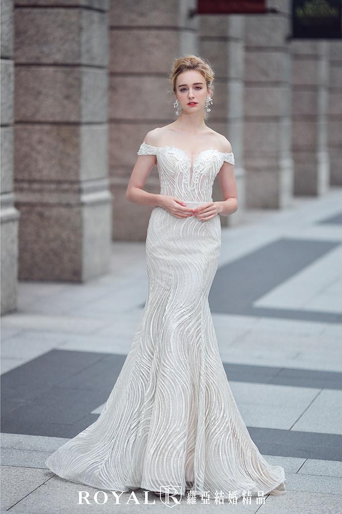 婚紗禮服款式-魚尾婚紗-卡肩婚紗-卡肩白紗-婚紗款式2020