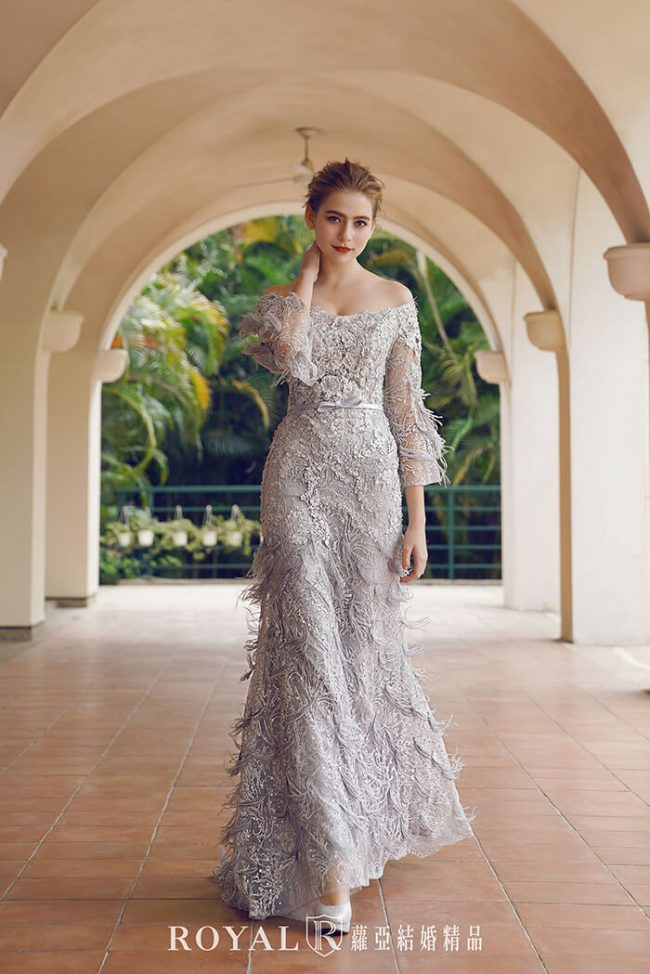 婚紗禮服款式-魚尾婚紗-卡肩婚紗-長袖禮服-手工禮服