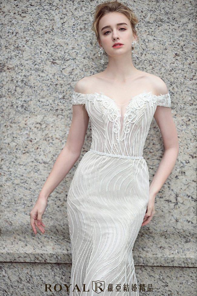 婚紗禮服款式-魚尾婚紗-卡肩白紗-卡肩婚紗-婚紗款式2020