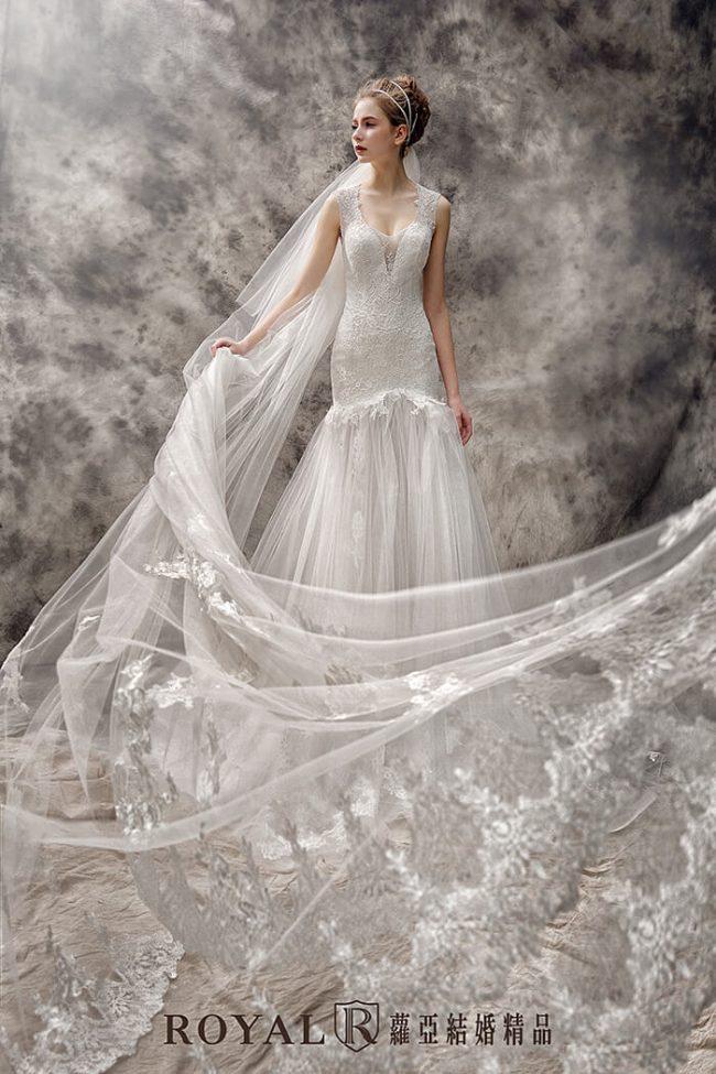 婚紗禮服款式-魚尾婚紗-手工婚紗-魚尾白紗