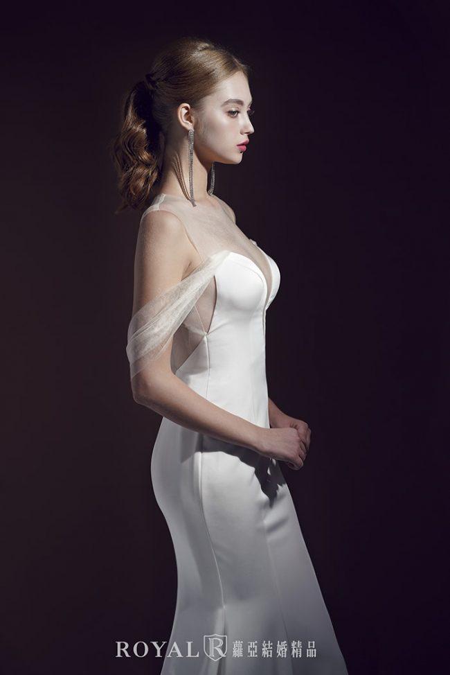 婚紗禮服款式-魚尾婚紗-緞面婚紗-卡肩婚紗-卡肩白紗