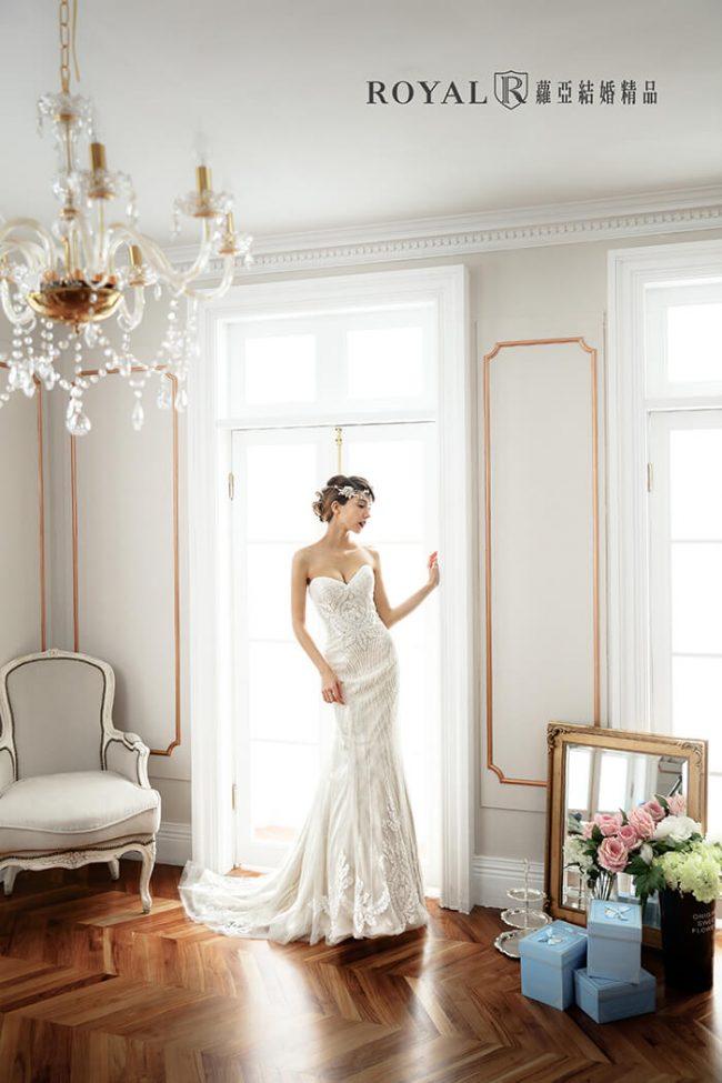 婚紗禮服款式-魚尾婚紗-魚尾白紗-桃心領婚紗-手工婚紗