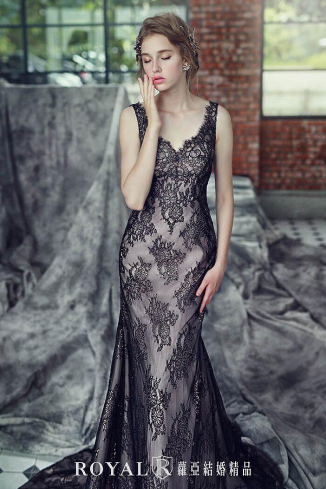 婚紗禮服款式-魚尾婚紗-黑色禮服-手工婚紗-時裝婚紗