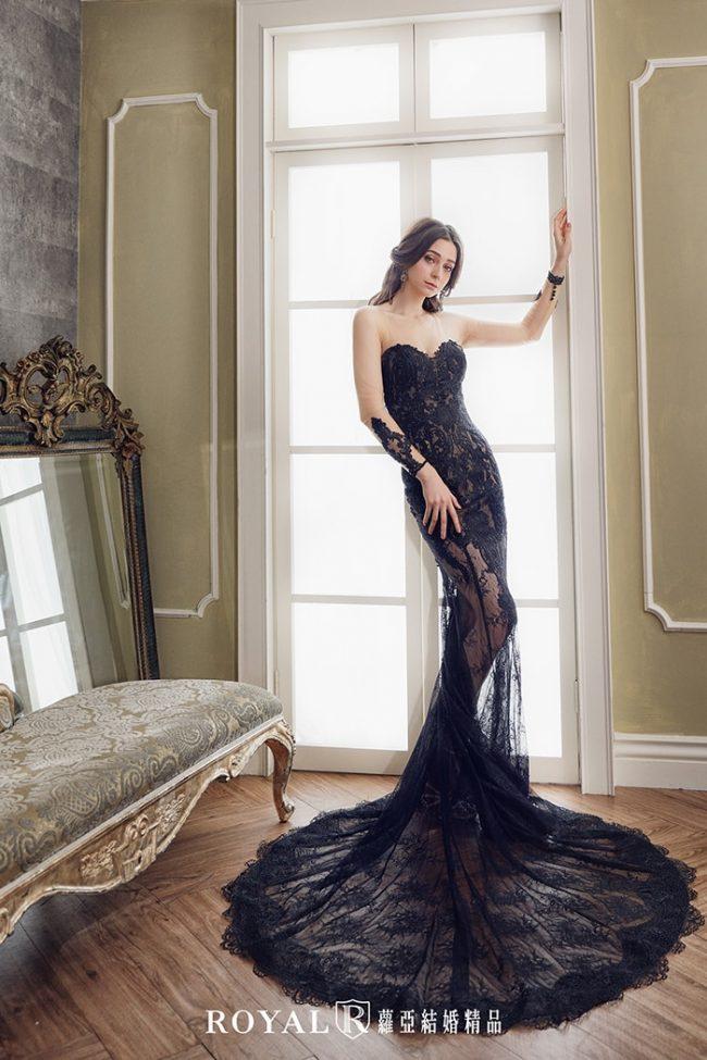婚紗禮服款式-魚尾婚紗-黑色禮服-時裝婚紗-長袖婚紗