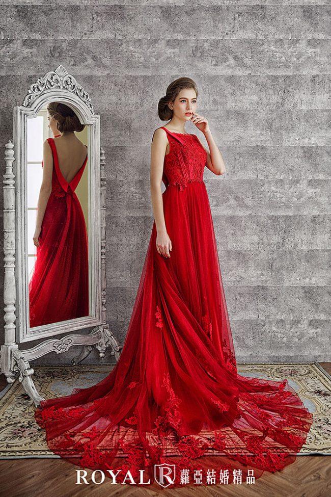 婚紗禮服款式-A-line婚紗-紅色禮服-手工婚紗-美背婚紗