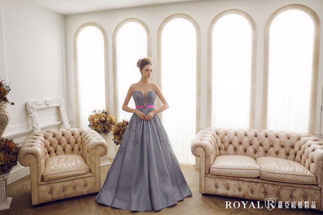 婚紗禮服款式-a line婚紗-緞面婚紗-金屬光澤灰色禮服-手工婚紗