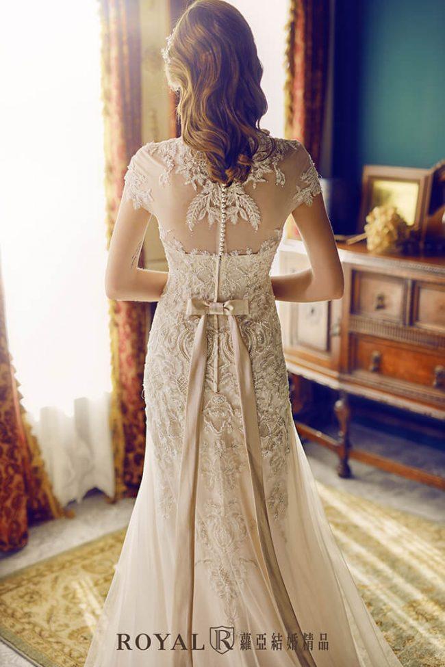 婚紗禮服款式-a line婚紗-古典婚紗-復古婚紗-短袖婚紗