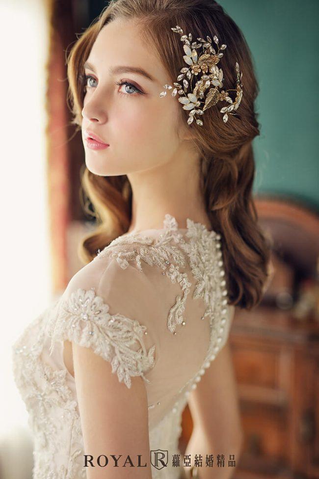 婚紗禮服款式-a line婚紗-古典婚紗-短袖婚紗-蕾絲婚紗