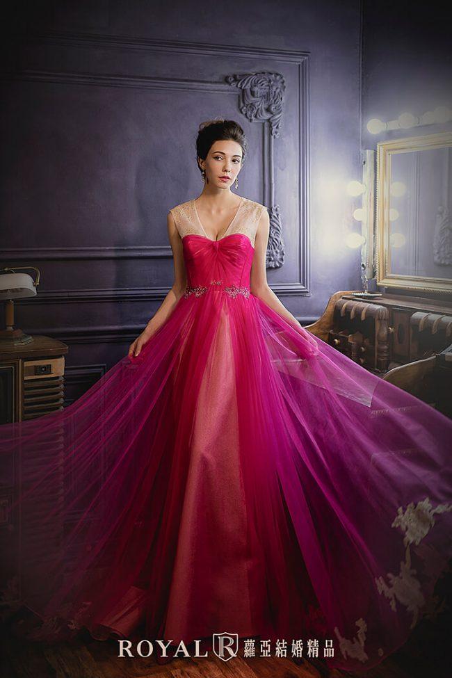 婚紗禮服款式-a line婚紗-手工婚紗-桃紅色禮服