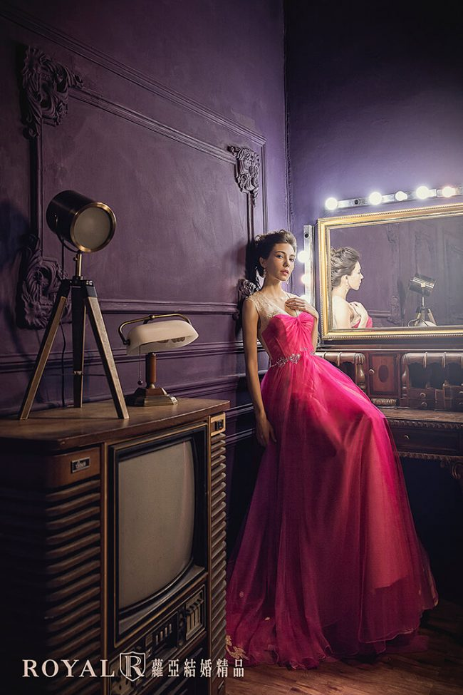 婚紗禮服款式-a line婚紗-桃紅色禮服-手工婚紗