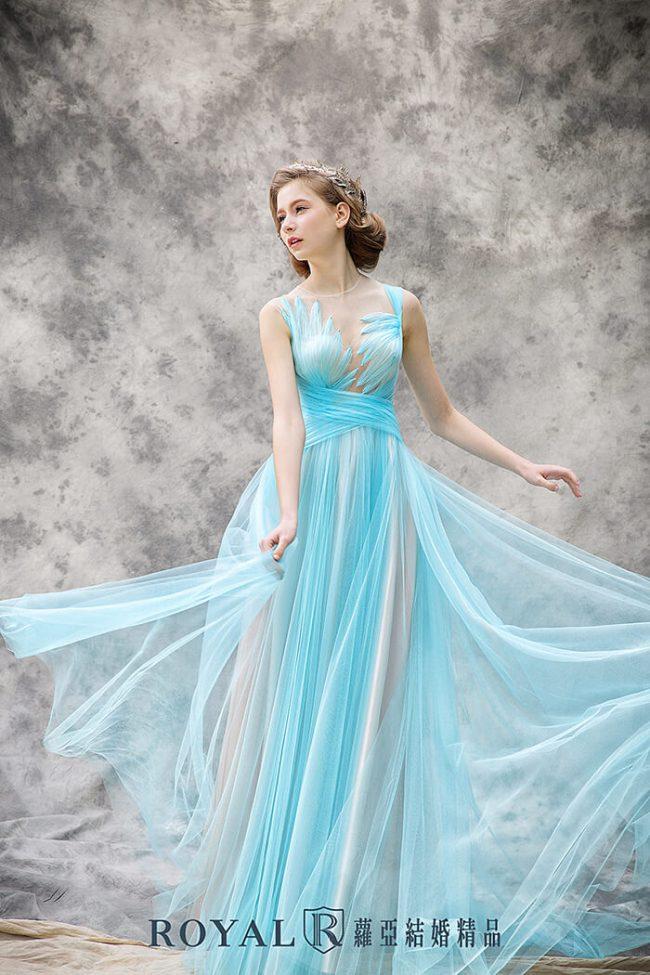 婚紗禮服款式-a line婚紗-水藍禮服-手工婚紗