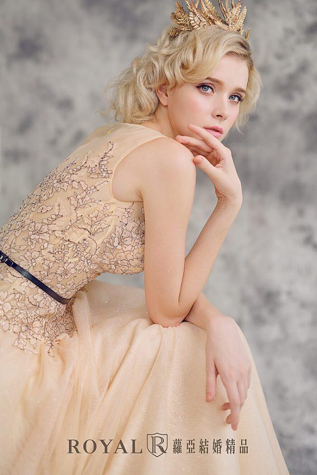 婚紗禮服款式-a line婚紗-粉橘禮服-法式婚紗-氣質婚紗