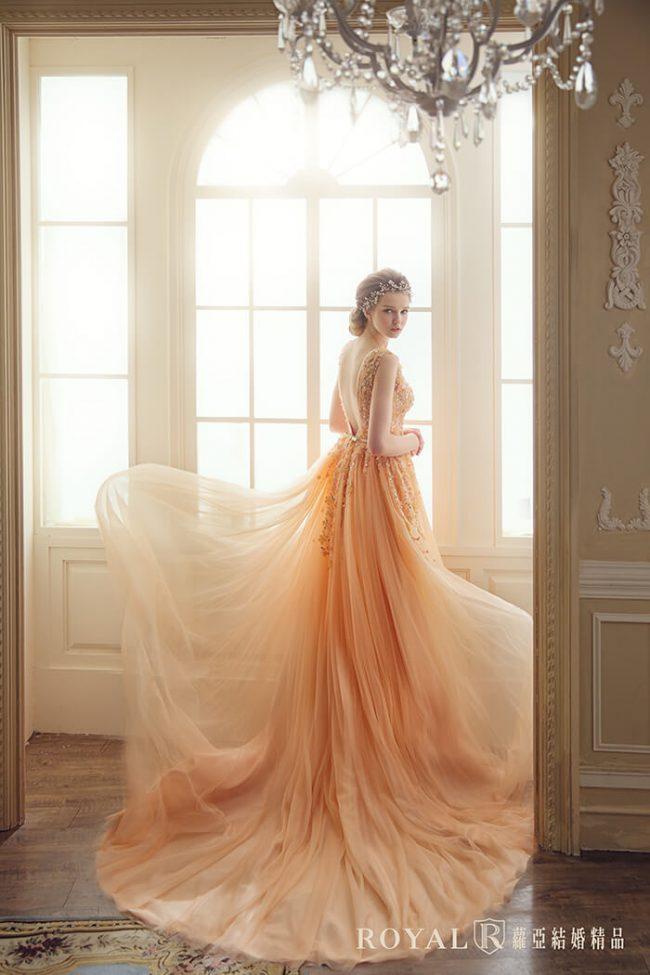 婚紗禮服款式-a line婚紗-粉橘禮服-法式婚紗-浪漫婚紗