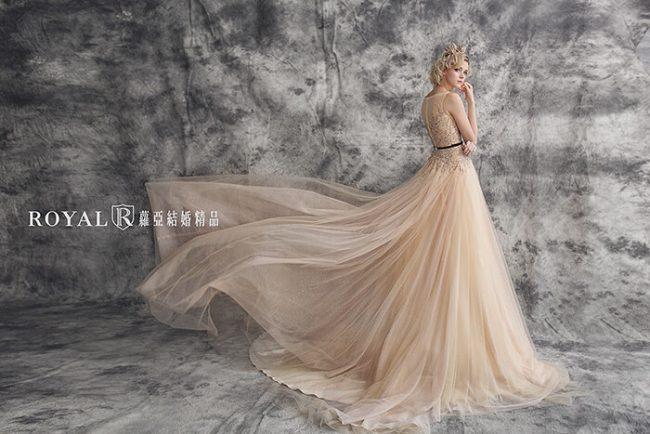 婚紗禮服款式-a line婚紗-粉橘禮服-法式婚紗