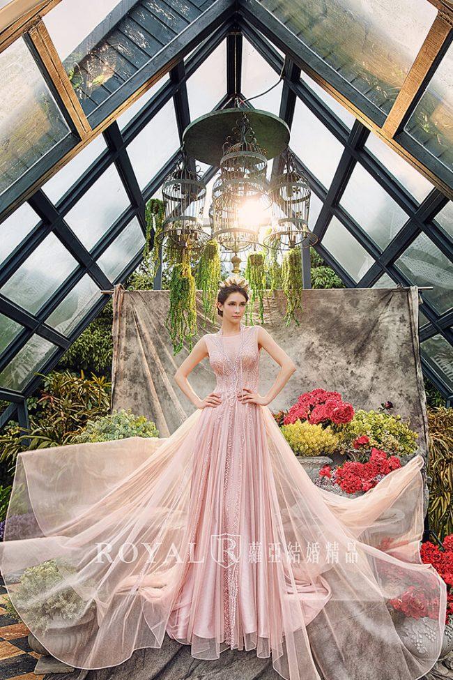婚紗禮服款式-a line婚紗-粉色禮服-典雅婚紗