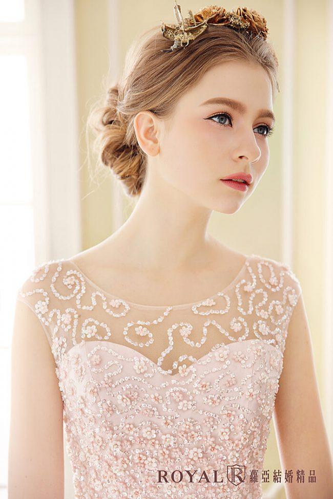 婚紗禮服款式-a line婚紗-粉色禮服-手工婚紗-氣質婚紗