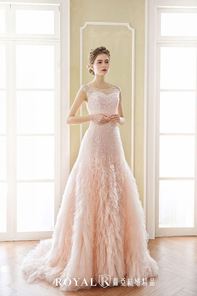 婚紗禮服款式-a line婚紗-粉色禮服-氣質婚紗-手工婚紗