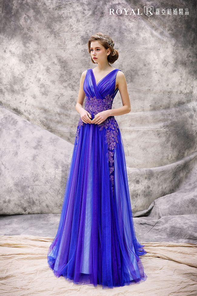 婚紗禮服款式-a line婚紗-藍紫色禮服-手工婚紗-婚紗款式2020