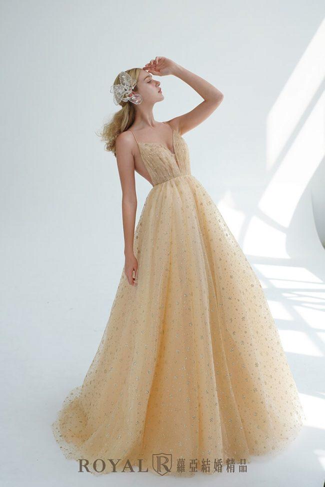 婚紗禮服款式-a line婚紗-輕婚紗-香檳色禮服-婚紗款式2020