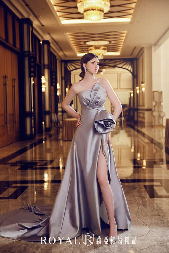 婚紗禮服款式-a line婚紗-開衩禮服-緞面婚紗-手工婚紗