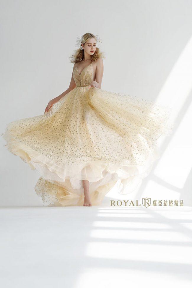 婚紗禮服款式-a line婚紗-香檳色禮服-婚紗款式2020-輕婚紗