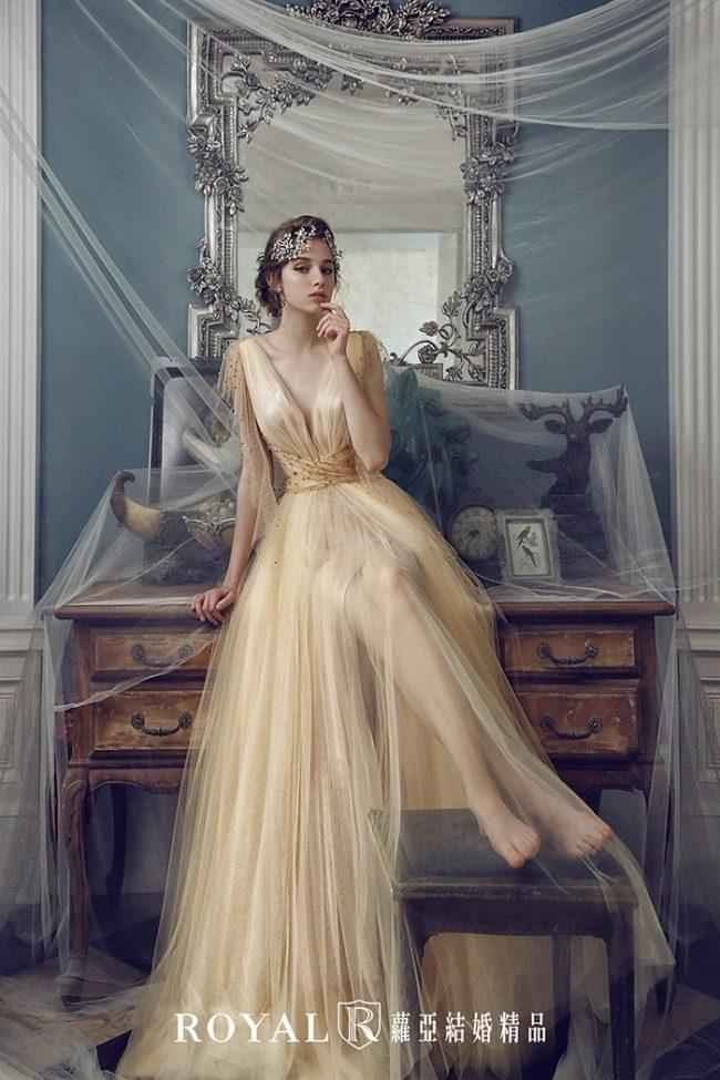 婚紗禮服款式-a line婚紗-香檳色禮服-婚紗款式2020