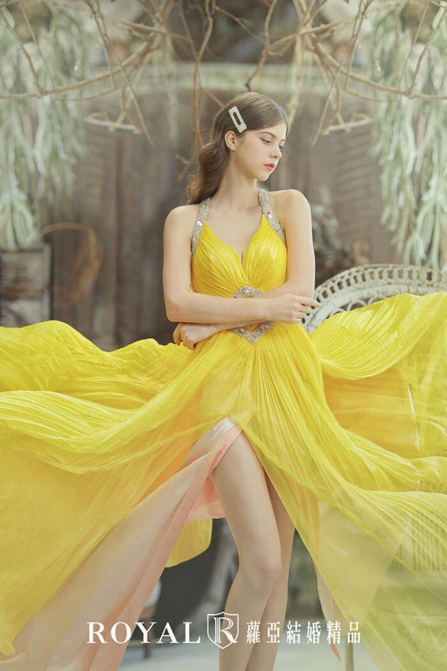婚紗禮服款式-a line婚紗-黃色禮服-唯美婚紗-手工婚紗