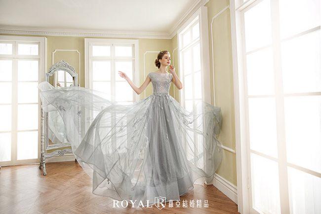 婚紗禮服款式-a line-灰色禮服-手工禮服-婚紗款式2019