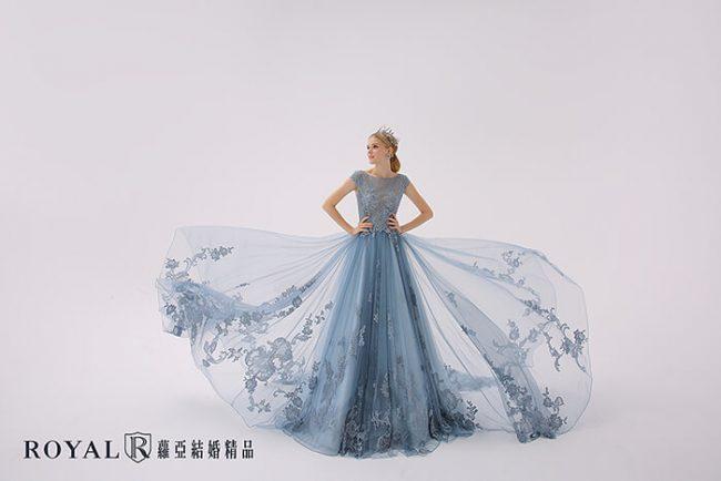 婚紗禮服款式-a line-灰藍禮服-古典婚紗-手工婚紗-婚紗款式2020