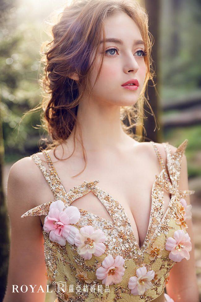 婚紗禮服款式-a line-粉色禮服-手工婚紗-仙氣婚紗-甜美婚紗