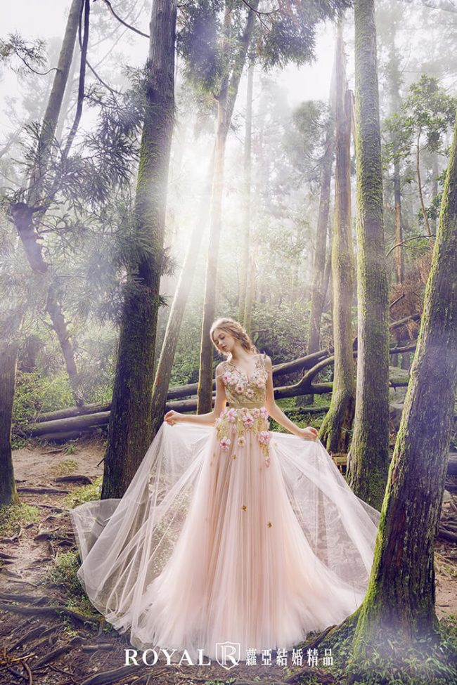 婚紗禮服款式-a line-粉色禮服-甜美婚紗-仙氣婚紗-手工婚紗