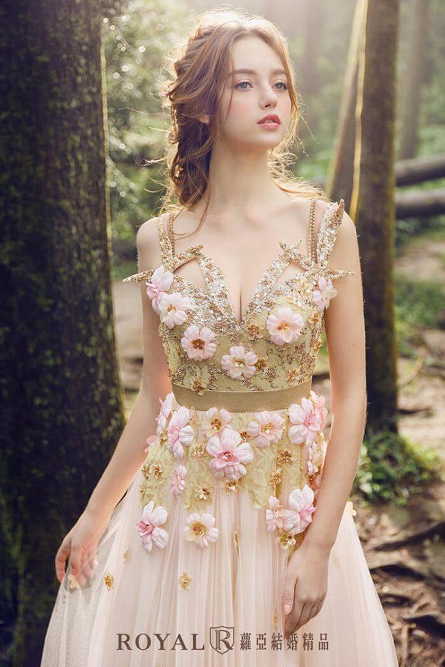婚紗禮服款式-a line-粉色禮服-甜美婚紗-手工婚紗-仙氣婚紗
