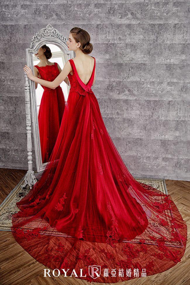 婚紗禮服款式-a line-紅色禮服-手工婚紗-美背婚紗