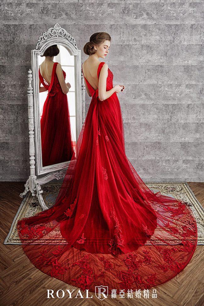 婚紗禮服款式-a line-紅色禮服-美背婚紗-手工婚紗