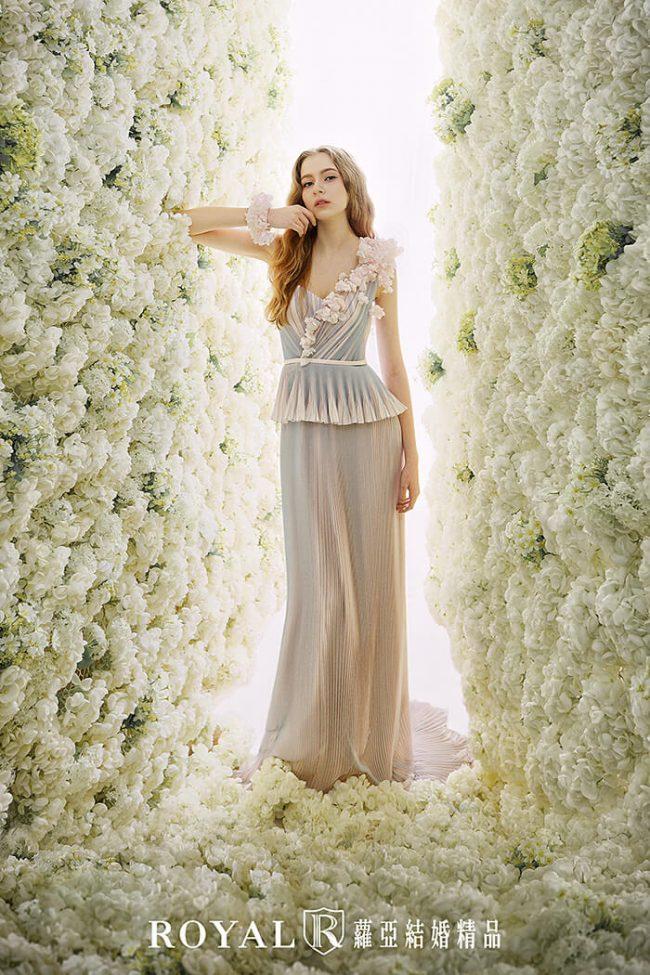 婚紗禮服款式-a line-胭脂粉禮服-手工婚紗-婚紗款式2020