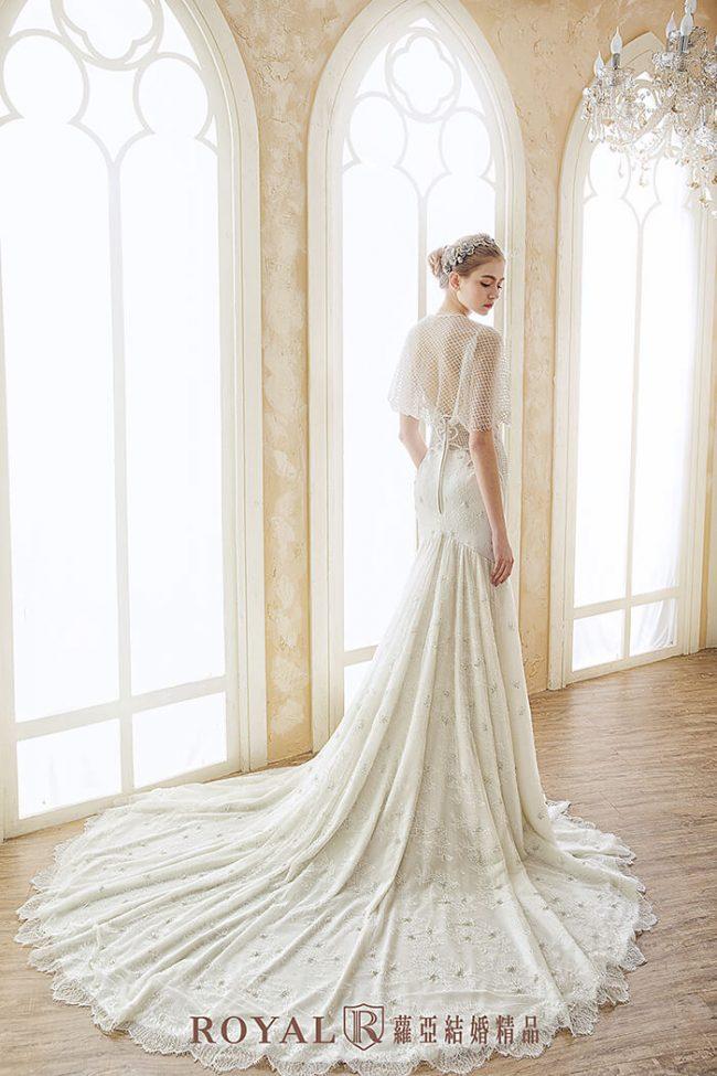 手工婚紗-婚紗禮服款式-魚尾白紗-兩件式婚紗禮服