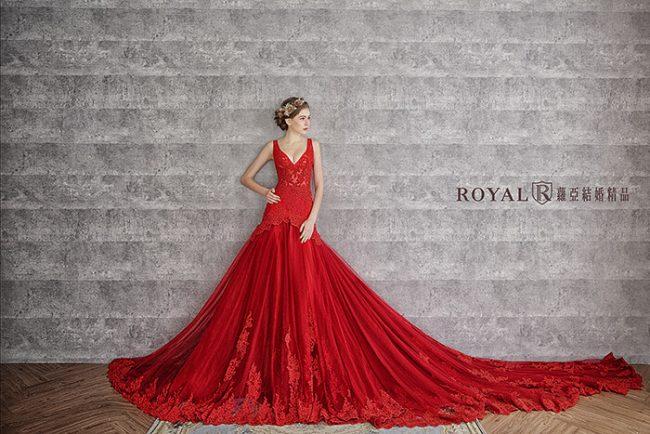 手工婚紗-魚尾婚紗-魚尾禮服-紅色婚紗