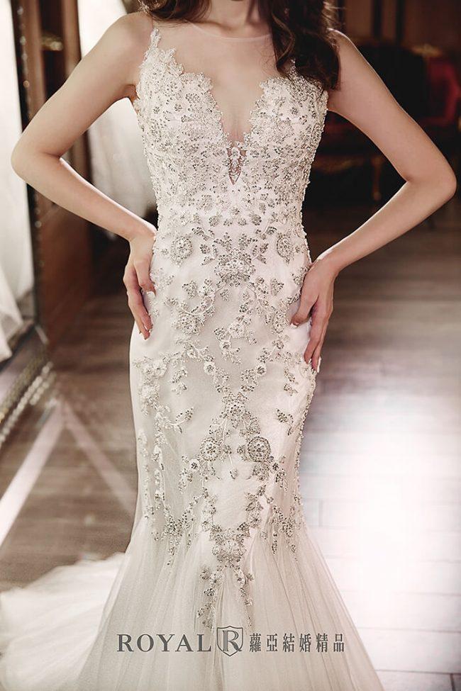 手工婚紗-魚尾禮服-婚紗禮服款式-魚尾白紗進場-魚尾白紗