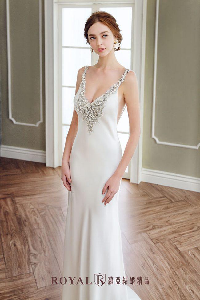 手工婚紗-魚尾禮服-緞面婚紗-婚紗款式2020