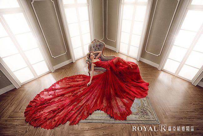 紅色婚紗-魚尾婚紗-手工婚紗-婚紗禮服款式