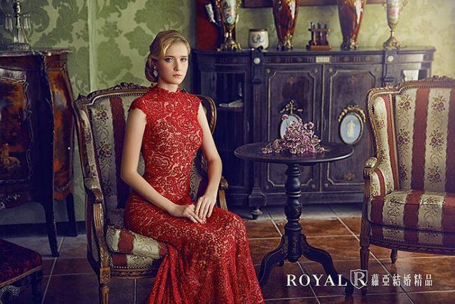 紅色旗袍婚紗-魚尾婚紗-訂婚禮服-手工禮服-婚紗禮服款式