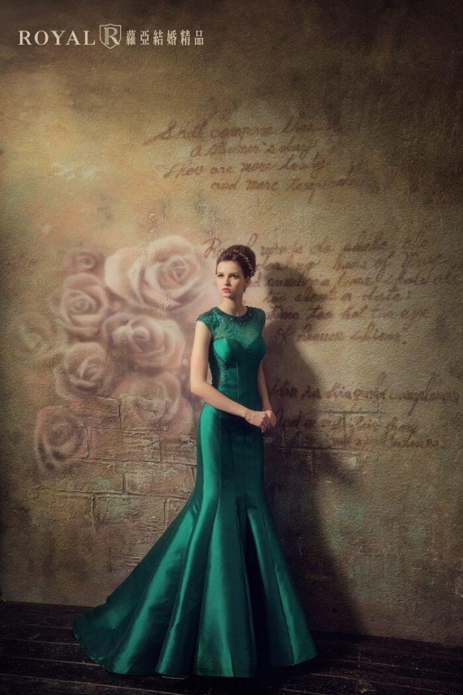 緞面婚紗-婚紗禮服款式-魚尾婚紗-魚尾禮服-手工婚紗