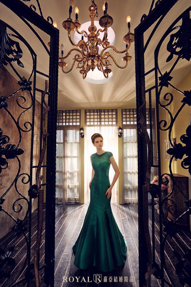 緞面婚紗-魚尾婚紗-魚尾禮服-手工婚紗-婚紗禮服款式