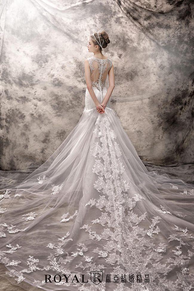 蕾絲婚紗-手工禮服-魚尾白紗-魚尾婚紗-婚紗禮服款式