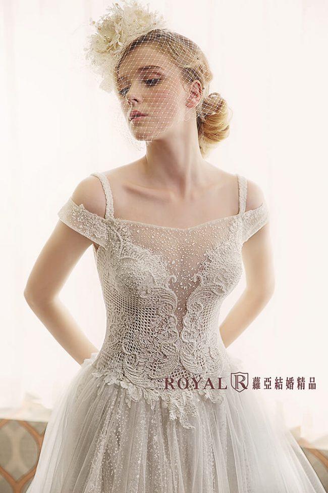 輕婚紗-婚紗禮服款式-卡肩婚紗-卡肩白紗-手工婚紗