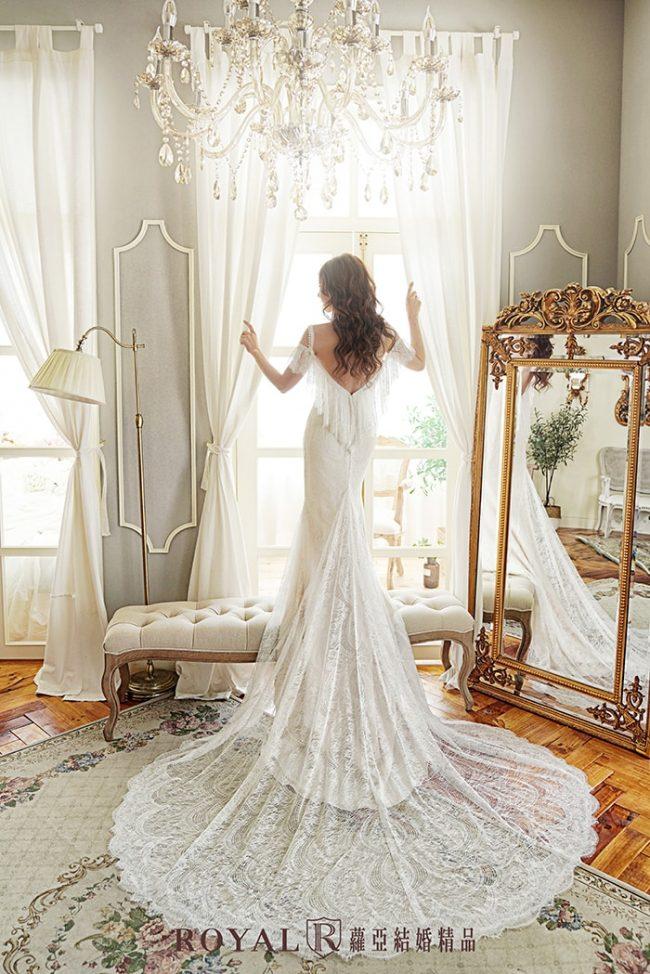 魚尾婚紗-魚尾白紗-卡肩婚紗-婚紗禮服款式